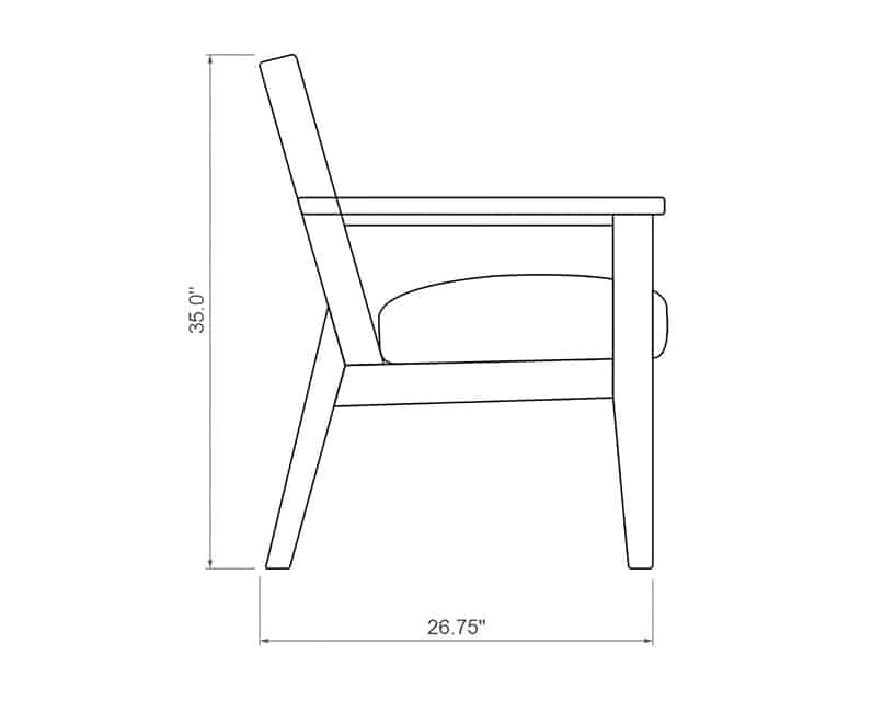 Costa Brava Club Chair | Product Side Dimensions | Paddy O' Furniture
