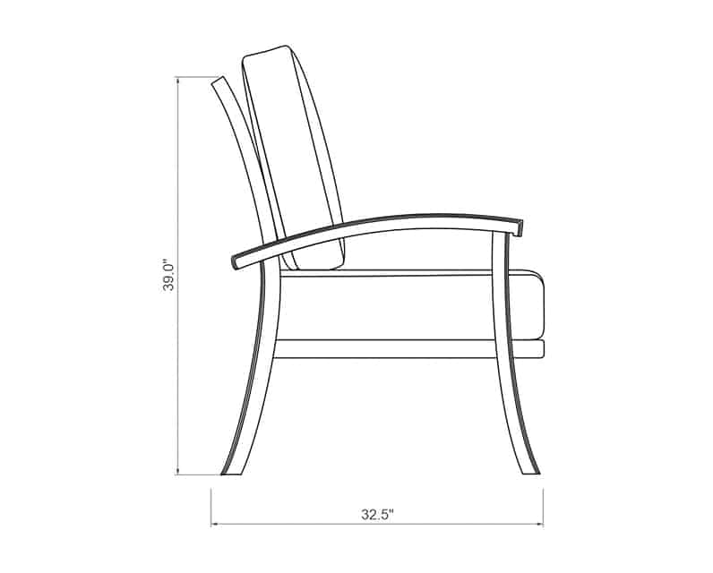 Cordova Club Chair | Product Side Dimensions | Paddy O' Furniture