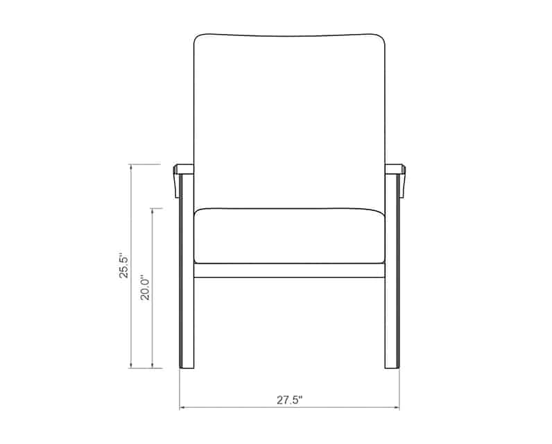Cordova Dining Chair | Front Product Dimensions | Paddy O' Furniture