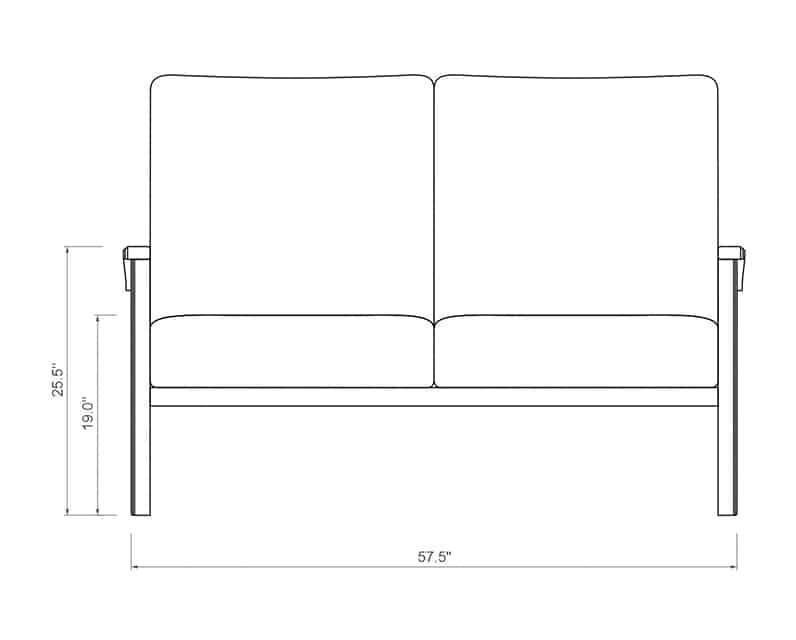 Cordova Loveseat | Front Product Dimensions | Paddy O' Furniture
