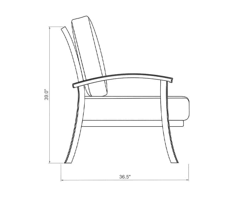 Cordova Loveseat | Side Product Dimensions | Paddy O' Furniture