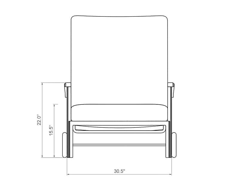 Cordova Chaise Lounge | Front Product Dimensions | Paddy O' Furniture