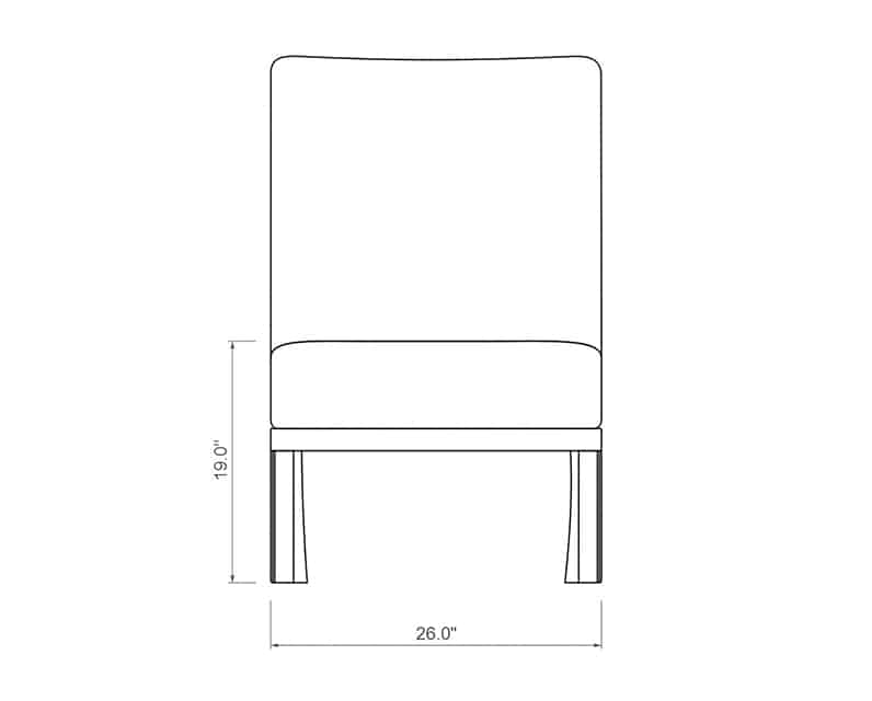 Cordova Sectional Armless | Front Product Dimensions | Paddy O' Furniture