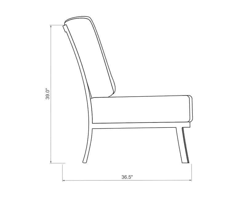 Cordova Sectional Armless | Side Product Dimensions | Paddy O' Furniture