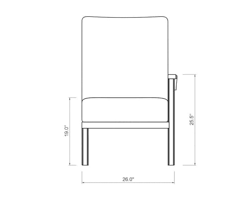 Cordova Sectional Left Arm | Front Product Dimensions | Paddy O' Furniture