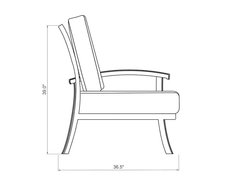 Cordova Sectional Left Arm | Side Product Dimensions | Paddy O' Furniture
