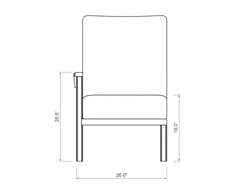 Cordova Sectional Right Arm | Front Product Dimensions | Paddy O' Furniture