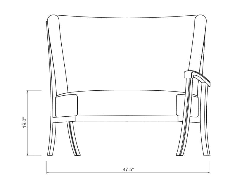 Cordova Curved Left Arm | Front Product Dimensions | Paddy O' Furniture