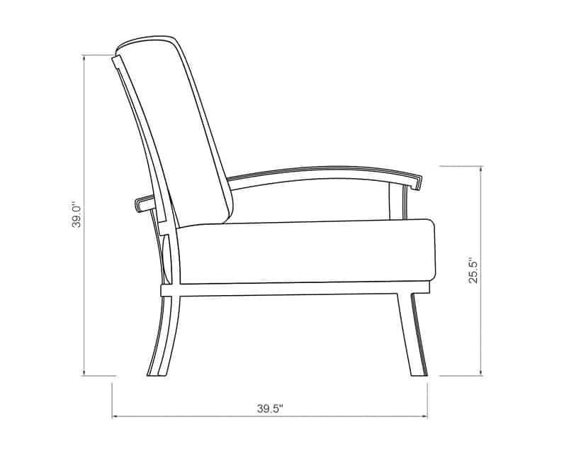 Cordova Curved Left Arm | Side Product Dimensions | Paddy O' Furniture