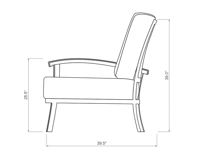 Cordova Curved Right Arm | Side Product Dimensions | Paddy O' Furniture