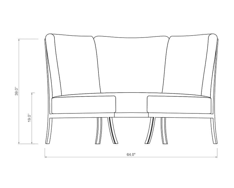 Cordova Sectional Corner | Front Product Dimensions | Paddy O' Furniture