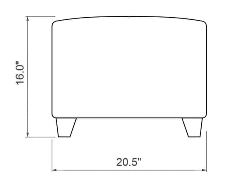 Edge Hill Ottoman | Side Product Dimensions | Paddy O' Furniture