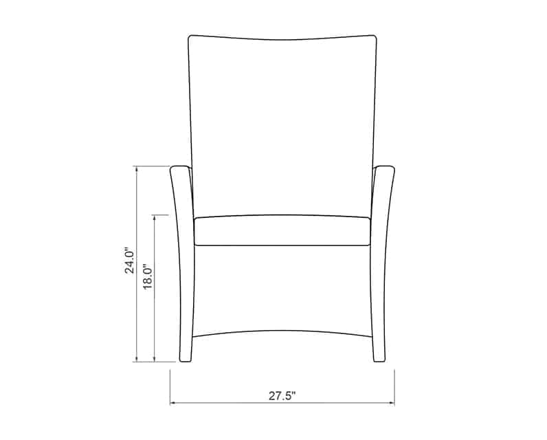 Edge Hill Reclining Dining | Front Product Dimensions | Paddy O' Furniture