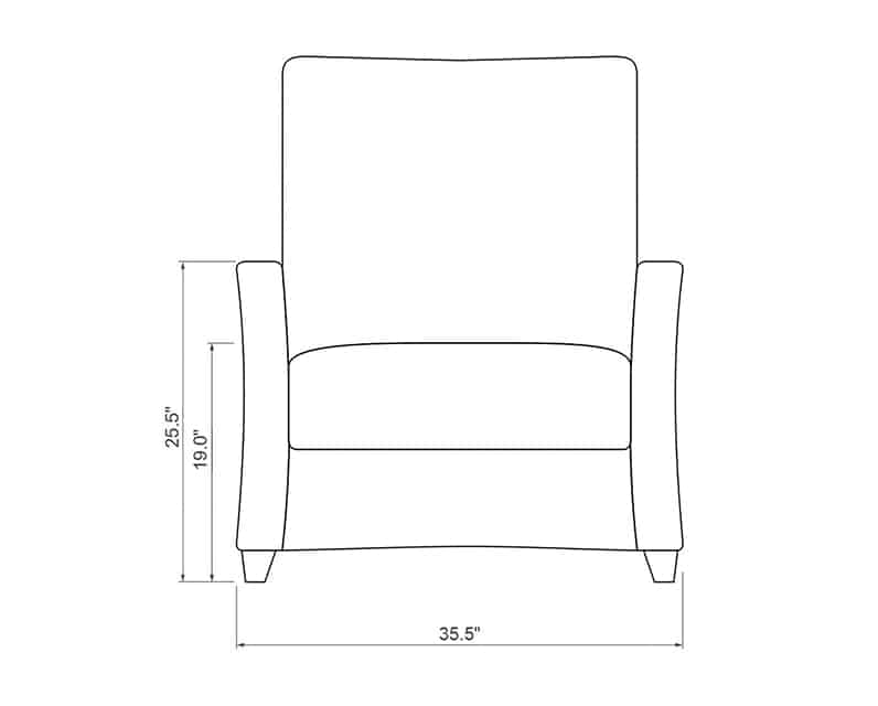 Edge Hill Club Recliner | Front Product Dimensions | Paddy O' Furniture