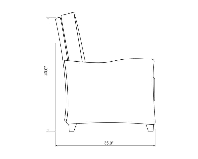 Edge Hill Club Recliner | Side Product Dimensions | Paddy O' Furniture