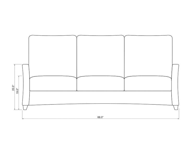 Edge Hill Sofa | Front Product Dimensions | Paddy O' Furniture