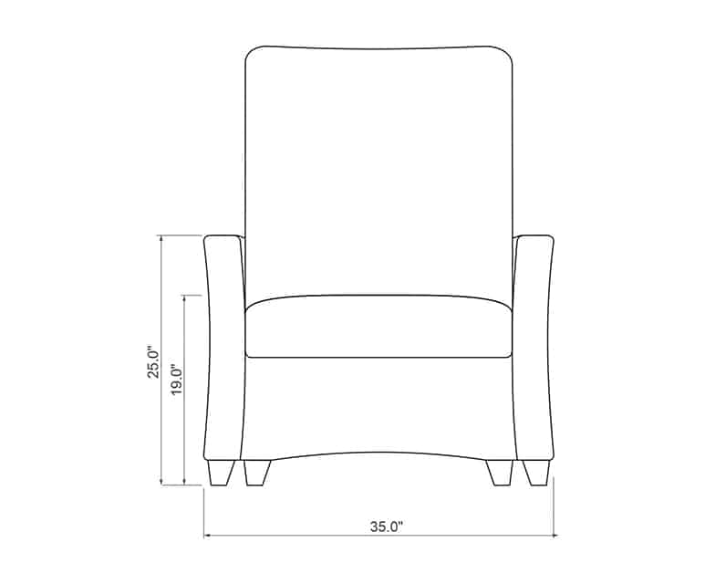 Edge Hill Chaise Lounge | Front Product Dimensions | Paddy O' Furniture