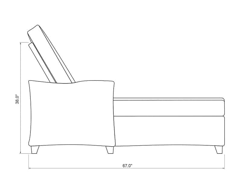 Edge Hill Chaise Lounge   Side Product Dimensions   Paddy O' Furniture