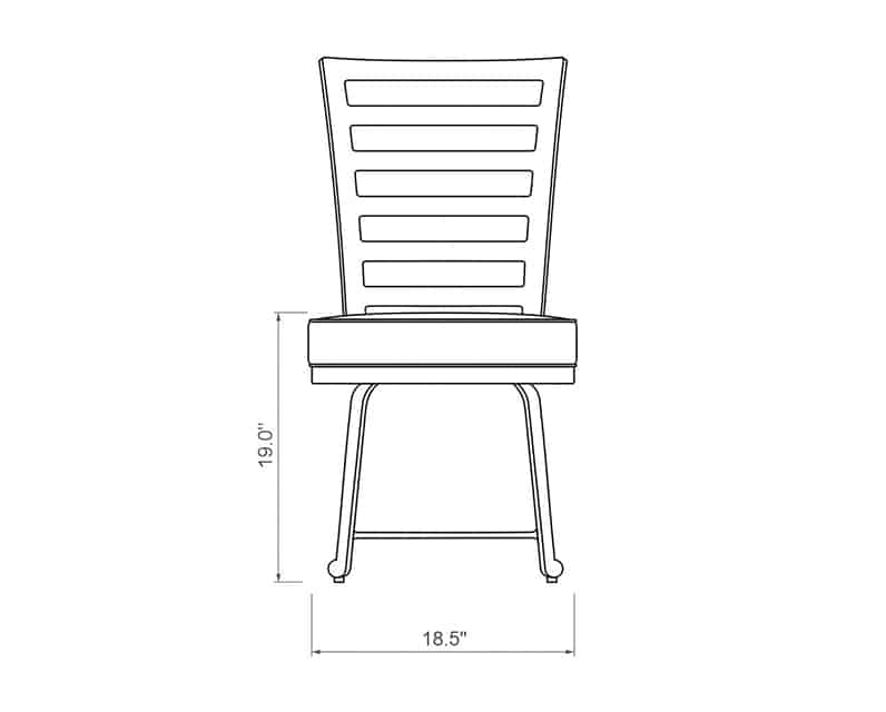 Emerson Dining Side Chair | Front Product Dimensions | Paddy O' Furniture