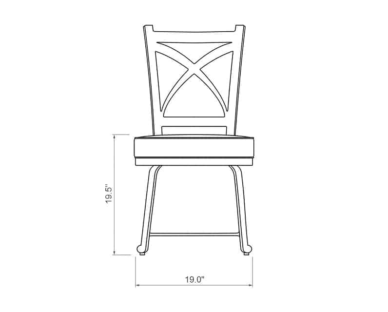 Francis Dining Side Chair | Front Product Dimensions | Paddy O' Furniture
