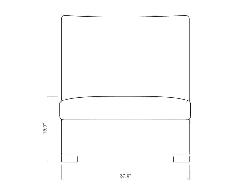 Madison Sectional Armless | Front Product Dimensions | Paddy O' Furniture