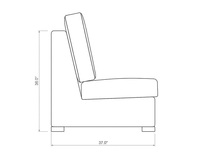 Madison Sectional Armless | Side Product Dimensions | Paddy O' Furniture