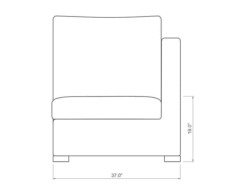 Madison Sectional Right Arm | Front Product Dimensions | Paddy O' Furniture