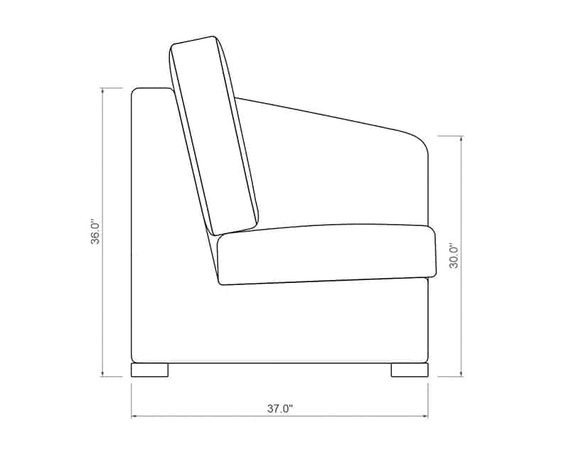 Madison Sectional Right Arm | Side Product Dimensions | Paddy O' Furniture