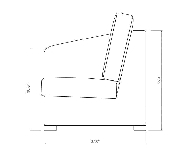 Madison Sectional Left Arm | Side Product Dimensions | Paddy O' Furniture