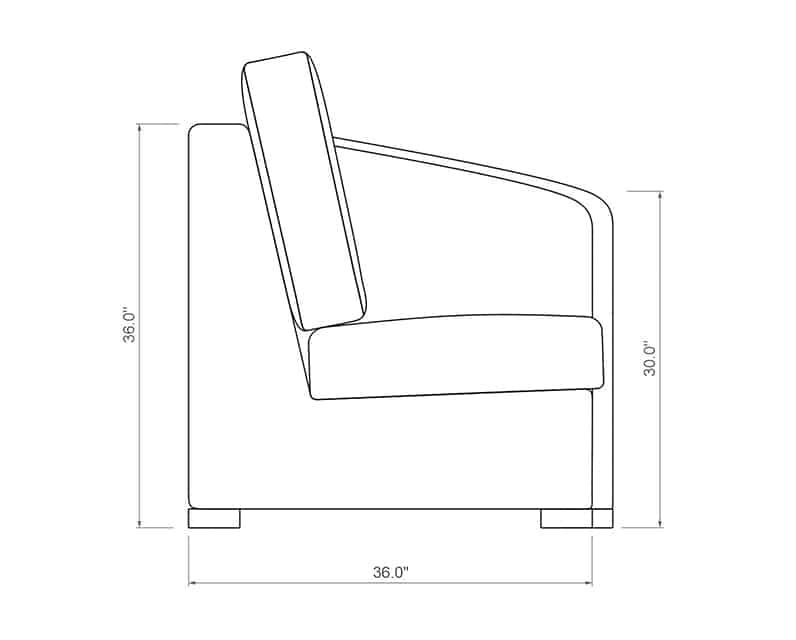 Madison Curved Left Arm | Side Product Dimensions | Paddy O' Furniture