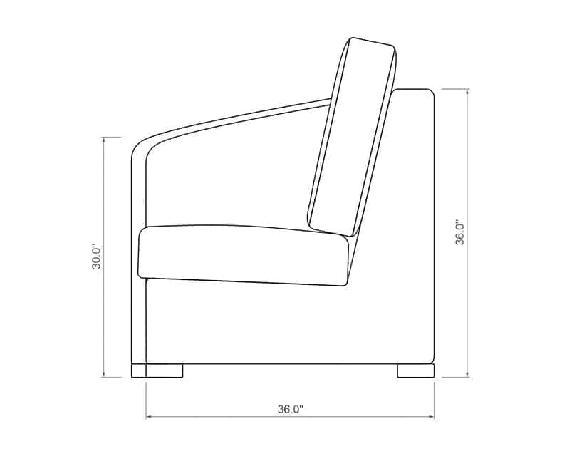 Madison Curved Right Arm | Side Product Dimensions | Paddy O' Furniture