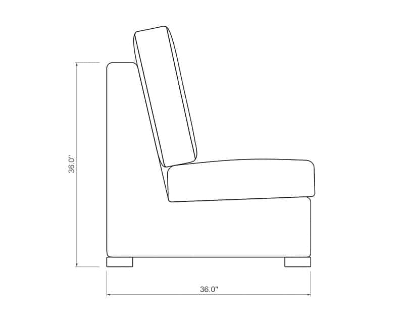 Madison Curved Armless | Side Product Dimensions | Paddy O' Furniture