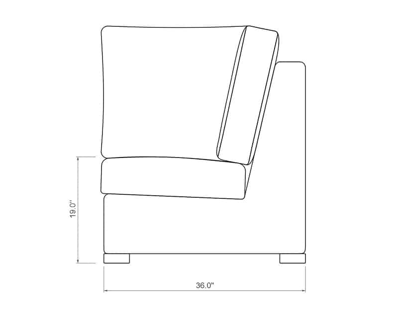Madison Sectional Corner | Front Product Dimensions | Paddy O' Furniture