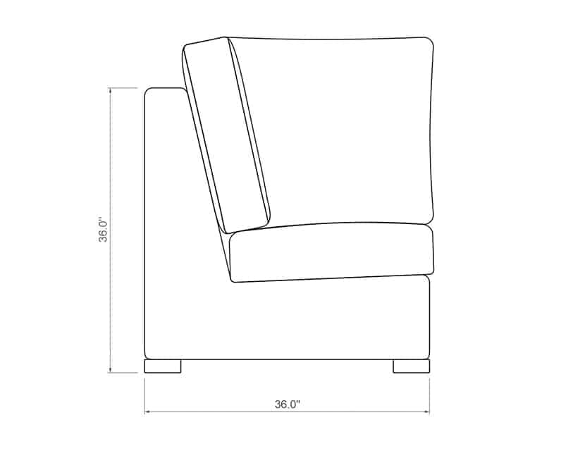 Madison Sectional Corner | Side Product Dimensions | Paddy O' Furniture