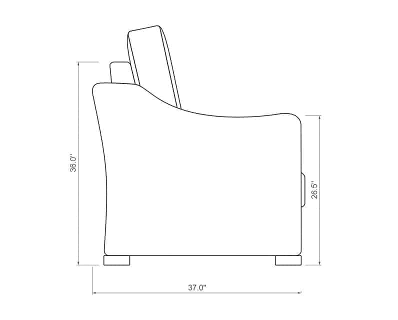 Mill Valley Club Chair | Side Product Dimensions | Paddy O' Furniture