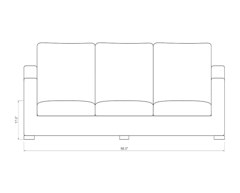 Mill Valley Sofa | Front Product Dimensions | Paddy O' Furniture