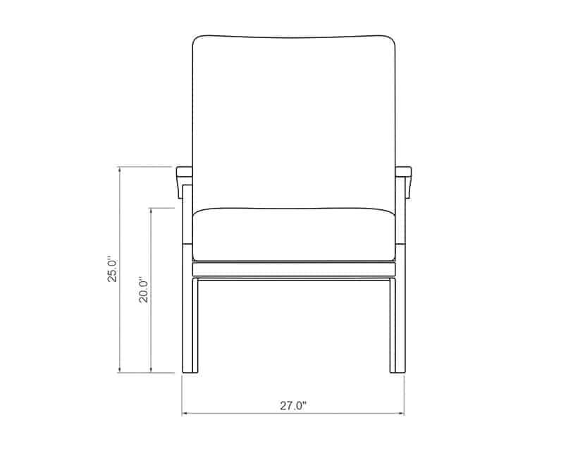 Newport Dining Chair   Front Product Dimensions   Paddy O' Furniture
