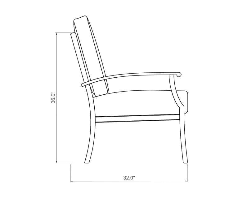 Newport Dining Chair | Side Product Dimensions | Paddy O' Furniture