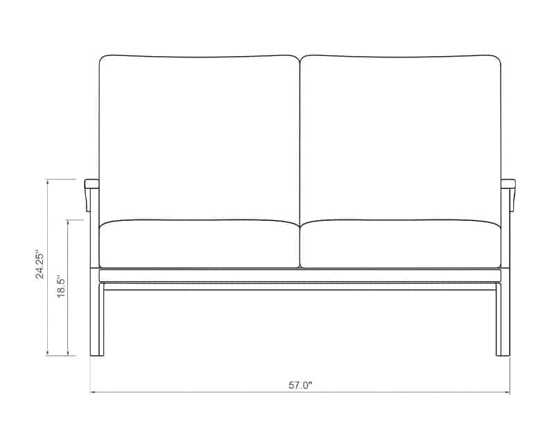 Newport Loveseat | Front Product Dimensions | Paddy O' Furniture