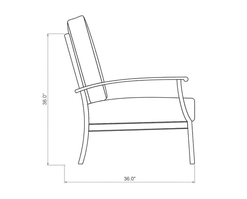 Newport Loveseat | Side Product Dimensions | Paddy O' Furniture