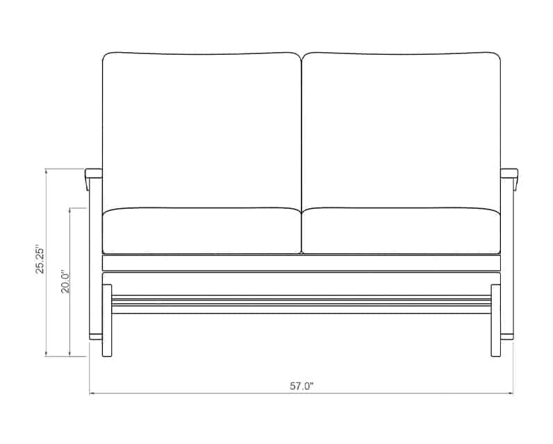 Newport Double Glider   Front Product Dimensions   Paddy O' Furniture