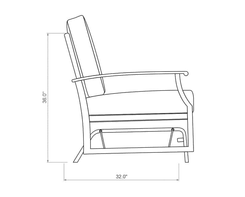Newport Double Glider | Side Product Dimensions | Paddy O' Furniture