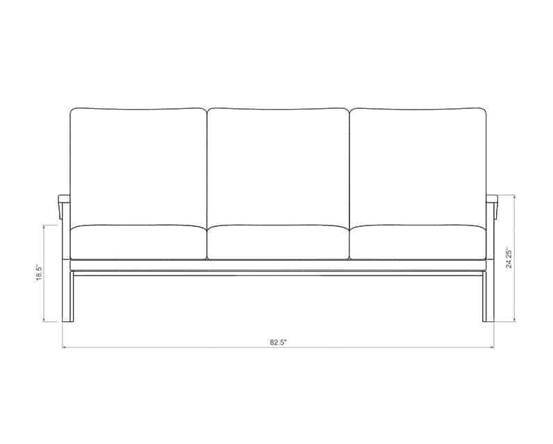 Newport Sofa | Front Product Dimensions | Paddy O' Furniture