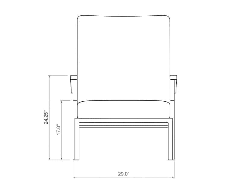 Newport Chaise Lounge | Front Product Dimensions | Paddy O' Furniture