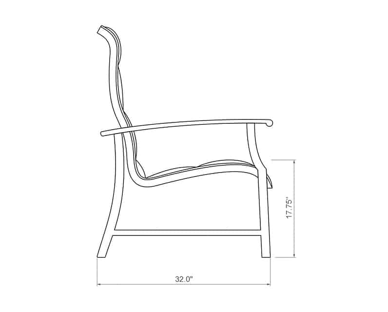 Newport Padded Sling Dining Chair | Side Product Dimensions | Paddy O' Furniture