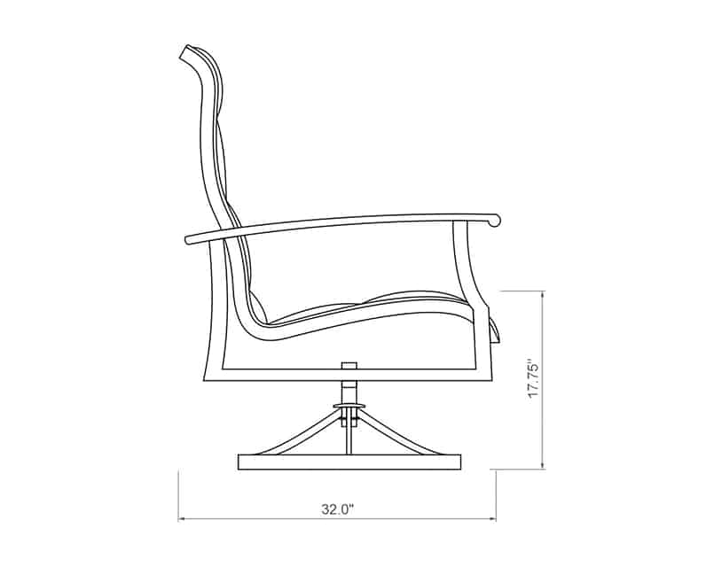 Newport Padded Sling Swivel Dining Chair | Side Product Dimensions | Paddy O' Furniture