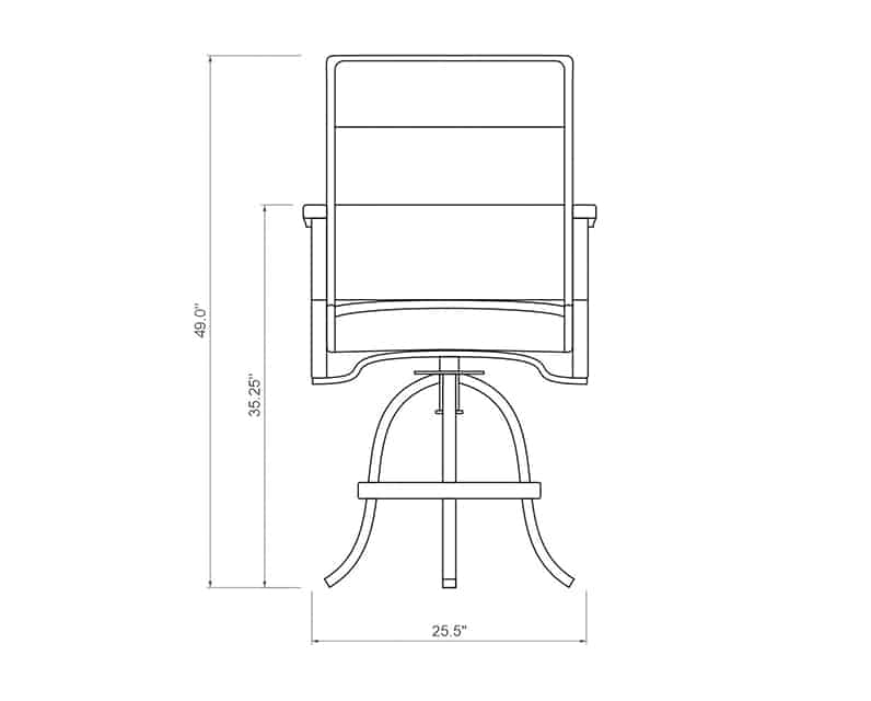 Newport Padded Sling Balcony Barstool | Front Product Dimensions | Paddy O' Furniture