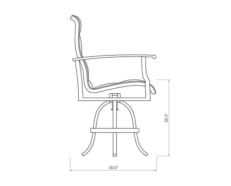 Newport Padded Sling Balcony Barstool | Side Product Dimensions | Paddy O' Furniture