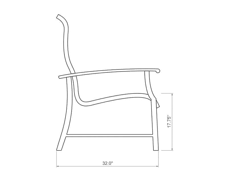 Newport Sling Dining Chair | Side Product Dimensions | Paddy O' Furniture