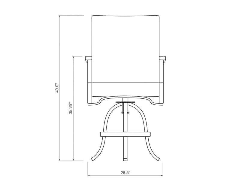 Newport Sling Swivel Balcony Barstool | Front Product Dimensions | Paddy O' Furniture